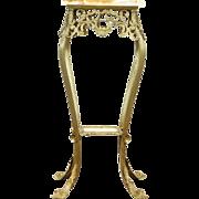 Victorian Cast Brass Filigree Antique Sculpture Pedestal Plant Stand, Onyx Top
