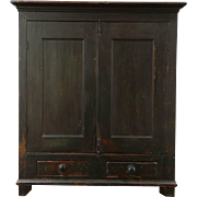 2PaintedCountry Pine Antique 1840 Pantry Cupboard, 2 Door Cabinet, Maine