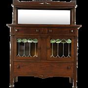 Arts & Crafts Mission Oak 1905 Antique Craftsman Sideboard Server, Leaded Glass