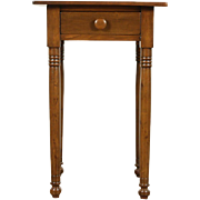 Nightstand or 1840's One Drawer Antique Lamp Table