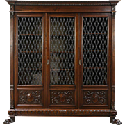 Carved Walnut Antique 1890 Library Bookcase, Iron Grill & Glass Doors, Italy
