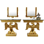 Pair of Classical Marble Top Carved Eagle Vintage Hall Console Tables, Italy