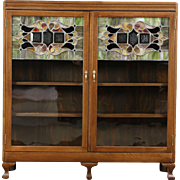 Oak 1900 Antique Bookcase, Leaded Stained Glass Doors