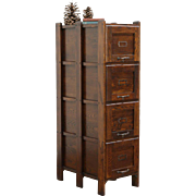 Mission Oak Arts & Crafts 4 Drawer Antique 1910 Craftsman File Cabinet