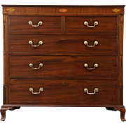 Mahogany & Marquetry Antique 1860 Hall Chest or Dresser, England