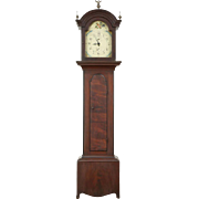 Grained Pine 1840 Antique Grandfather Long Case Clock, Quartz Battery Movement