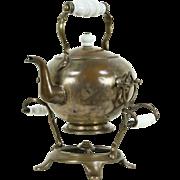 Tilting Antique 1890 Copper Tea Kettle & Stand, Signed London