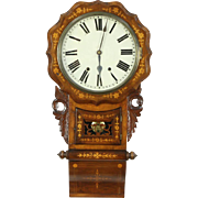 Wall Clock, 1870 Antique Dutch Walnut & Marquetry, Strikes Hour