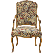Carved Antique Scandinavian Chair, Needlepoint & Petit Point Upholstery