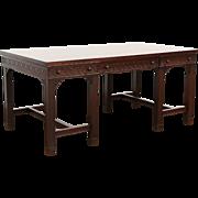Georgian Traditional Vintage Mahogany Partner Desk, Signed Royal