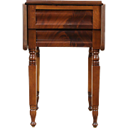 Empire 1840 Antique Mahogany Dropleaf Lamp Table, Nightstand