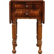 Dropleaf 1830's Antique Cherry & Mahogany Lamp Table, Nightstand