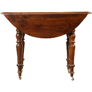 Victorian Round Drop Leaf Antique Walnut Game, Breakfast or Occasional Table
