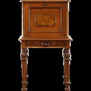 Victorian Walnut & Burl 1870 Antique Secretary Desk