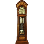 Cherry & Burl Vintage Grandfather Long Case Westminster Chime Clock Signed Sligh