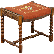 Oak Antique Stool or Bench, Spiral Legs, Needlepoint Upholstery, Signed Revell