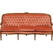 French Louis XVI Style Vintage Carved Sofa, Tufted Upholstery