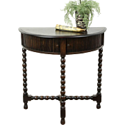 Oak Antique 1915 Demilune Half Round Hall Console Table, Tambour Doors