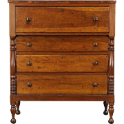 Empire 1830's Antique New England Cherry Chest or Tall Dresser