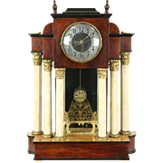 Empire 1880 Antique Clock, Marble Columns