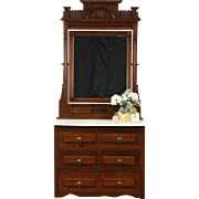 Victorian 1880 Antique Walnut Dresser with Mirror, Marble Top