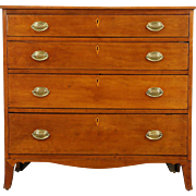 Cherry Hepplewhite Period 1780 Antique Chest or Dresser, Banded Drawers