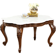 Victorian Style Vintage Marble Top Coffee Table, Carved Walnut
