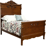 Victorian Carved Oak Antique 1900 Full Size Bed