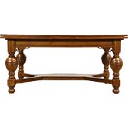 Renaissance Carved Oak Antique 1900 Library or Dining Table, Scandinavia