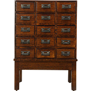Oak 1910 Antique 15 Drawer File or Collector Cabinet
