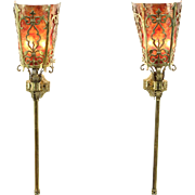 Pair of Vintage Brass Wall Sconces or Torcheres, Mica Shades