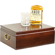 Cherry Vintage Tobacco Cigar Humidor, Signed Reed & Barton Diamond Crown