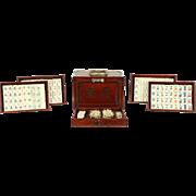 Mah Jong Antique 1920's Set, Rosewood Case, Bone & Bamboo Majong Pieces