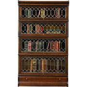 Oak 1900 Antique Stacking Bookcase, 4 Leaded Glass Doors, Globe & Macey