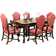 Renaissance Carved Antique 1925 Dining Set, Table With Banded Top & 6 Chairs