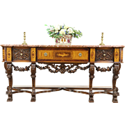 Renaissance Carved Antique Marble Top Marquetry Sideboard or Hall Console Table