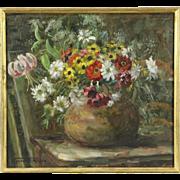 Still Life with Flowers, 1920's Antique Oil Painting, Signed Van Der Smissen