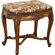 Carved Bench or Stool, 1920 Antique, Needlepoint Upholstery, France