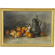 Still Life Pewter Jug & Fruit Original Oil Painting, 1910 Antique, Holland