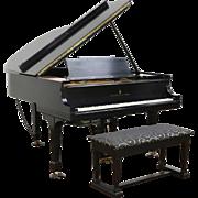 "Steinway Model M 5' 7"" Satin Ebony Grand Piano, 1922, Rebuilt, PianoDisc Player"