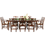 Traditional Mahogany Dining Set, Table 3 Leaves, 8 Chairs, Signed Henkel Harris