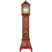 Chinoiserie Hand Painted Chinese Lacquer Long Case Grandfather Clock, Belgium
