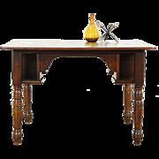 Oak Antique 1890 Pub, Tavern or Saloon Game Table, Mug Shelves