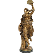 Gypsy or Dancer & Tambourine Statue Bronze Sculpture, Signed Clesinger 1858