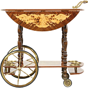 Italian Rosewood Marquetry and Brass Dropleaf Bar or Tea Cart, Vintage