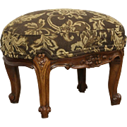 Oval Antique 1900 Carved Footstool, New Upholstery, France