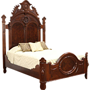 Victorian Antique 1870 Carved Walnut & Burl Queen Size Bed