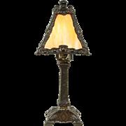 Art & Crafts Art Nouveau Antique 1910 Stained Glass Lamp