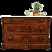 Victorian Walnut Chest or Dresser, Marble Top, Secret Drawer, Signed Bruner NY