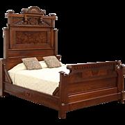 Victorian Eastlake Queen Size Antique 1880 Carved Walnut & Burl Bed